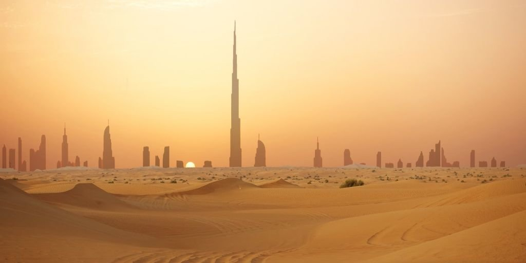 Dubai desert heat skyline