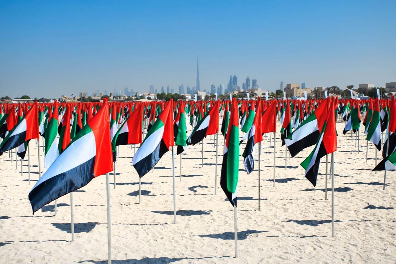 UAE Flags on Kite Beach - National Day celebrations