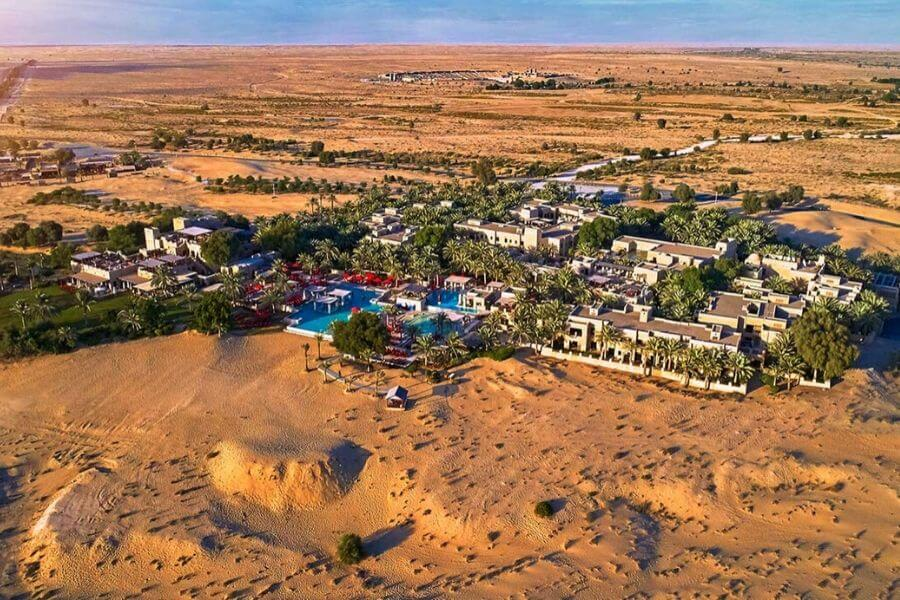 Aeriel view over Bab al Shams Desert Resort in Dubai