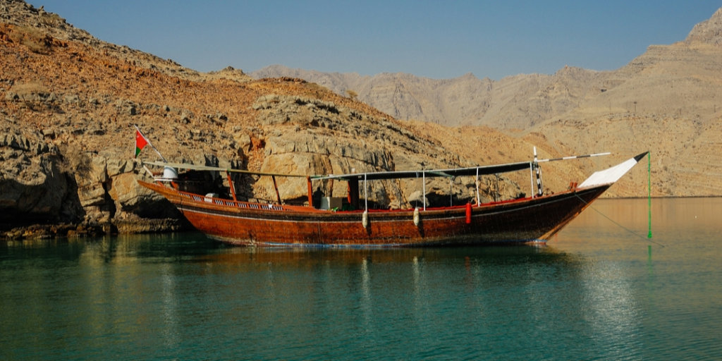 boat anchored in the Musandam Peninsula