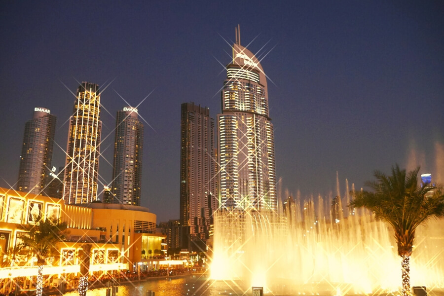 Dubai Fountain view from ground floor Todd English Food Hall