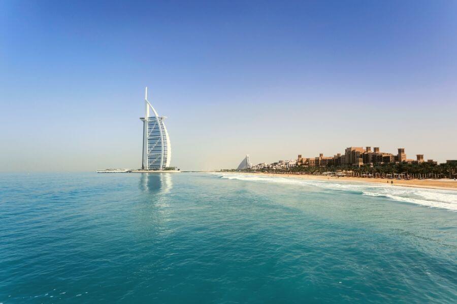 The Arabian Gulf water Dubai with the Burj Khalifa and Jumeirah Beach