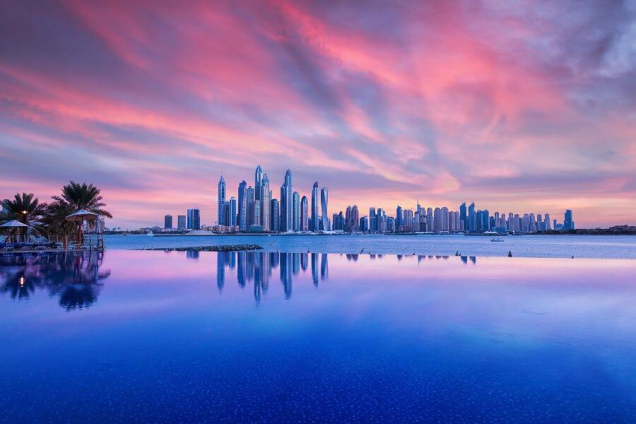 Infinity pool on Palm Jumeirah overlooking to Dubai Marina
